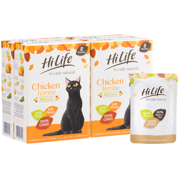 Picture of 32 Pouch Pack of HiLife its only natural Chicken Senior Cat Food with 100% natural ingredients