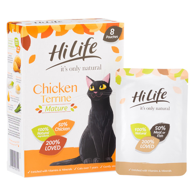 Angled Picture of  100% natural HiLife its only natural Senior Cat Food, made with 50% chicken