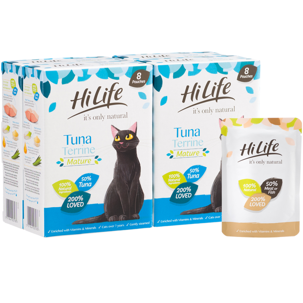 Picture of 32 pouch pack of HiLife its only natural Senior Cat Food Tuna Terrine
