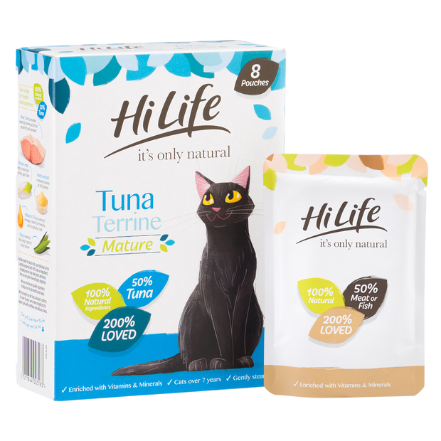 Angled Picture of 100% natural HiLife its only natural Senior Cat Food, made with 50% tuna