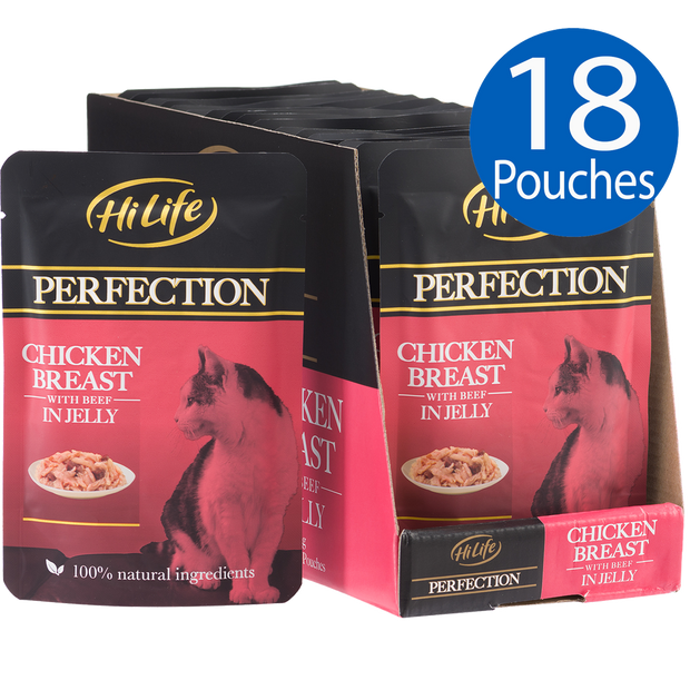 Picture of 18 pouches of HiLife Perfection Chicken Breast with Beef in Jelly Wet Pouch Cat Food made with 100% natural ingredients