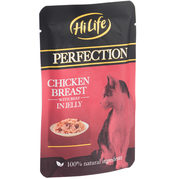 Angled pouch of HiLife Perfection Chicken Breast with Beef in Jelly Wet Pouch Cat Food made with 100% natural ingredients