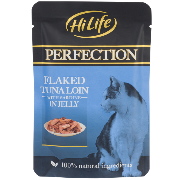 Picture of HiLife Perfection Flaked Tuna Loin with Sardine in Jelly Wet Pouch Cat Food made with 100% natural ingredients