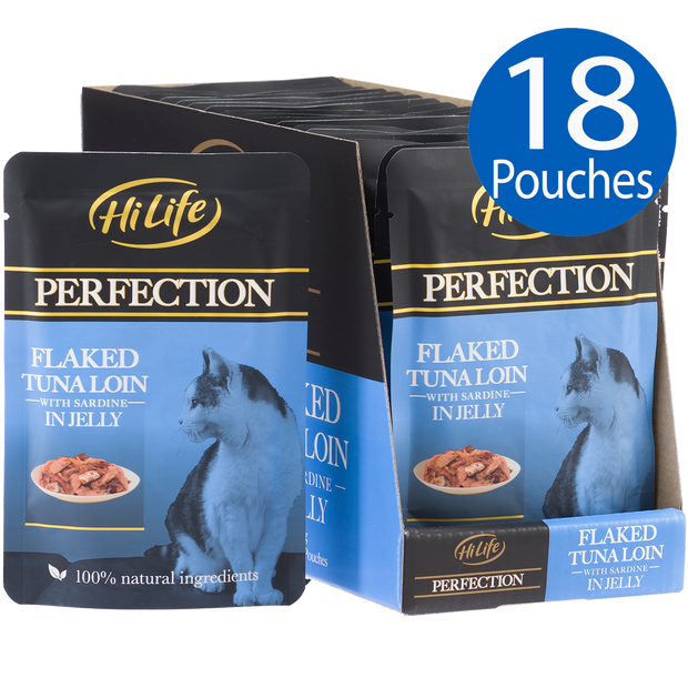 Picture of 18 pouches of HiLife Perfection Flaked Tuna Loin with Sardine in Jelly Wet Pouch Cat Food made with 100% natural ingredients