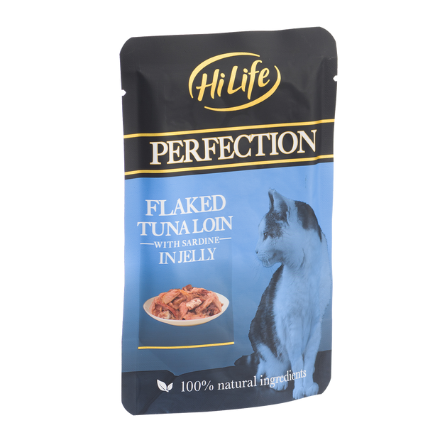 Angled picture of HiLife Perfection Flaked Tuna Loin with Sardine in Jelly Wet Pouch Cat Food made with 100% natural ingredients