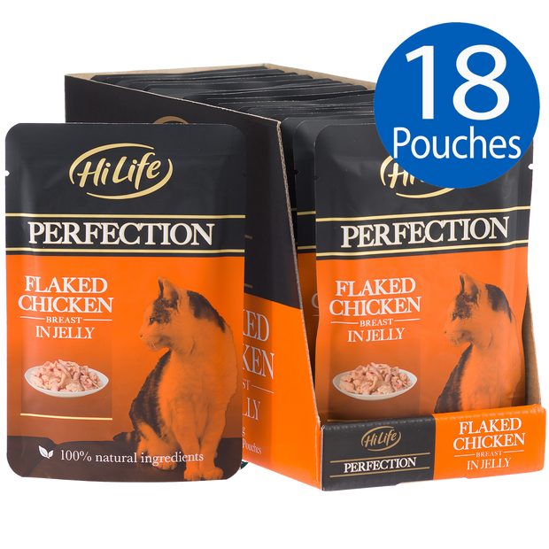 Picture of 18 pouches of HiLife Perfection Flaked Chicken Breast in Jelly Wet Pouch Cat Food made with 100% natural ingredients