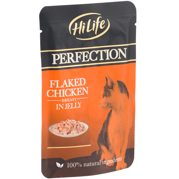 Angled pouch of HiLife Perfection Flaked Chicken Breast in Jelly Wet Pouch Cat Food made with 100% natural ingredients
