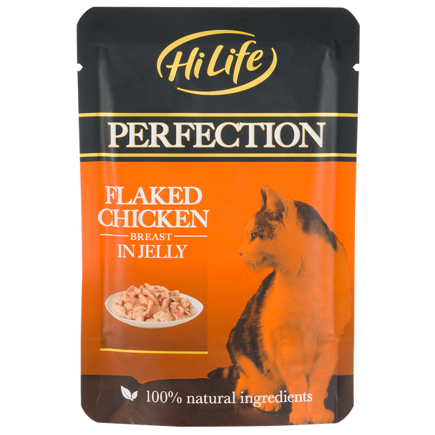 Picture of HiLife Perfection Flaked Chicken Breast in Jelly Wet Pouch Cat Food made with 100% natural ingredients