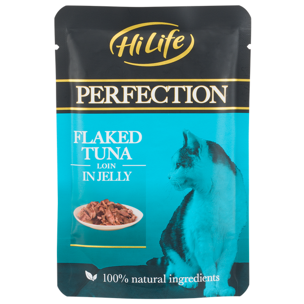 Picture of HiLife Perfection Flaked Tuna Loin in Jelly Wet Pouch Cat Food with 100% natural ingredients