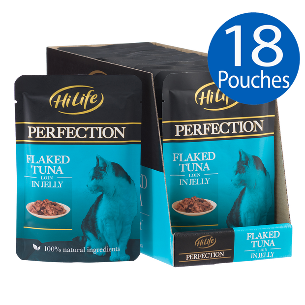 Angled picture of 18 HiLife Perfection Flaked Tuna Loin in Jelly wet cat food Pouches made with 100% natural ingredients