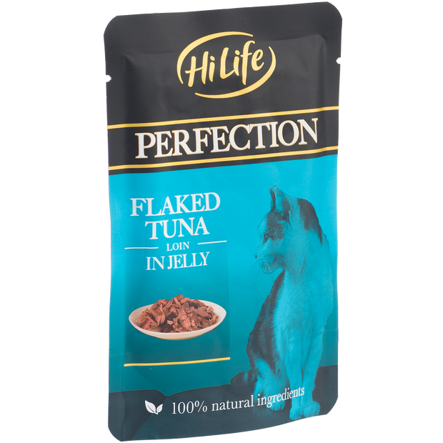 Angled pack of HiLife Perfection Flaked Tuna Loin in Jelly Wet Pouch Cat Food made with 100% natural ingredients