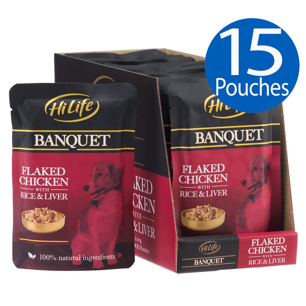 Picture of 15 pouches of HiLife Banquet Flaked Chicken with Rice and Liver Dog Food Pouch with 100% natural ingredients