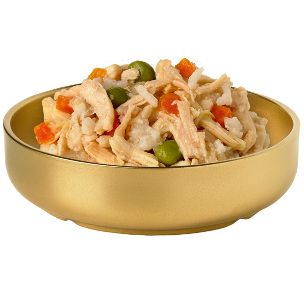 Picture of a bowl of HiLife Banquet Flaked Chicken with Rice and Veg Dog Food showing flakes of real chicken, rice, carrots and peas