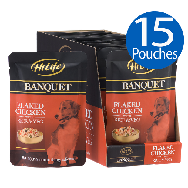 Picture of 15 pouches of HiLife Banquet Flaked Chicken with Rice and Veg Dog Food Pouch with  100% natural ingredients