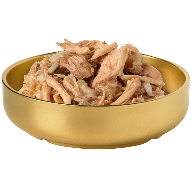 Bowl of HiLife Banquet Flaked Chicken with Rice and Tuna Dog Food showing flakes of real chicken, rice and tuna