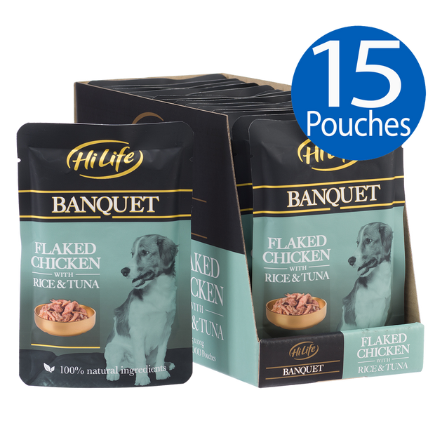 Picture of 15 pouches of HiLife Banquet Flaked Chicken with Rice and Tuna Wet Dog Food with 100% natural ingredients