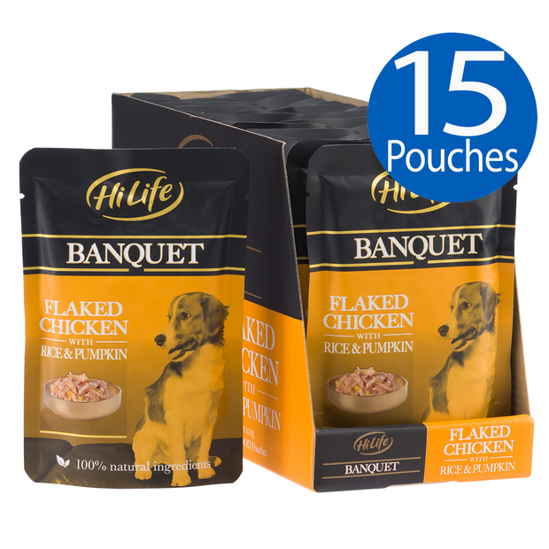 Picture of 15 pouches of HiLife Banquet Flaked Chicken with Rice and Pumpkin Wet Dog Food with 100% natural ingredients