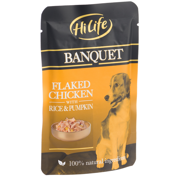 Angled picture of HiLife Banquet Flaked Chicken with Rice and Pumpkin Dog Food Pouch with 100% natural ingredients