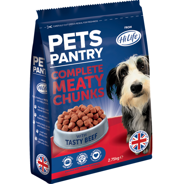 Angled bag of 2.75kg Pets Pantry Complete Meaty Chunks with tasty beef dry dog food - soft moist and meaty