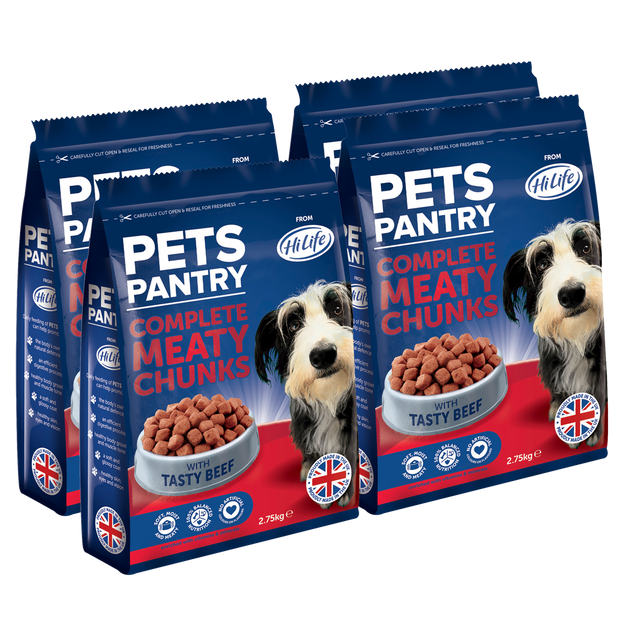 PETS PANTRY from HiLife Complete Meaty Chunks with Tasty Beef