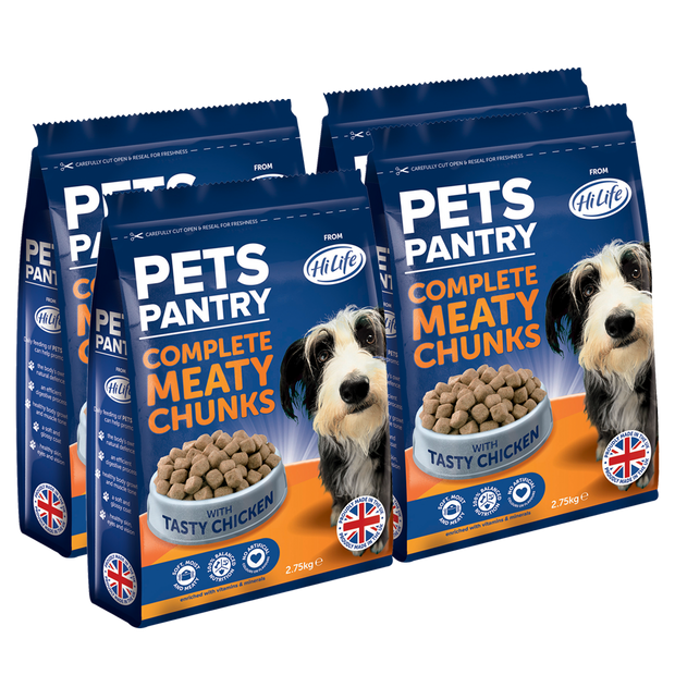 Picture showing a 4 bags of 2.75kg Pets Pantry from HiLife Complete Meaty Chunks Dry Dog Food with tasty chicken.  Contains no artificial colours or flavours
