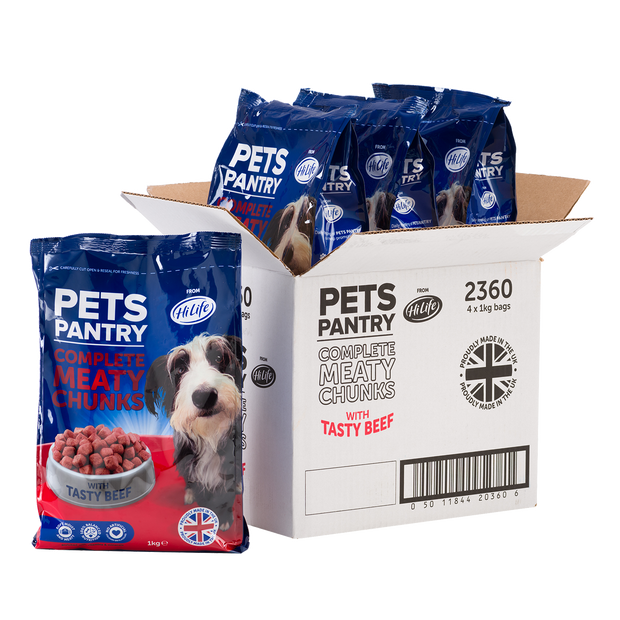 Picture of 4 1kg bags of Pets Pantry from HiLife Complete Meaty Chunks with tasty beef dry dog food.