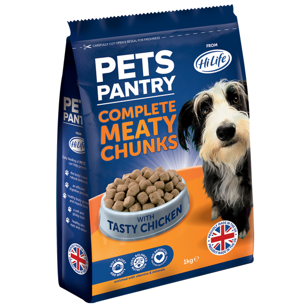 Picture showing a 1kg bag of Pets Pantry from HiLife Complete Meaty Chunks Dry Dog Food with tasty chicken.  Contains no artificial colours or flavours