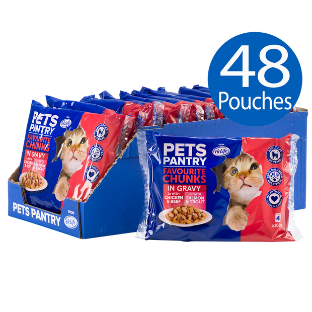 Picture of 48 Pets Pantry from HiLife Favourite Chunks in Gravy pouches of wet dog food including 24 with chicken and beef and 24 with salmon and trout pouch recipes