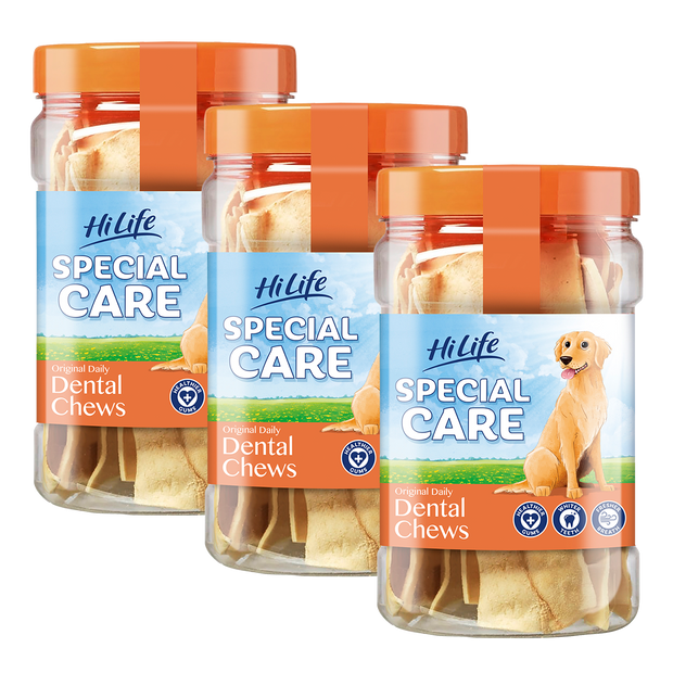3 tubs of HiLife Special Care Daily Dental Chews for healthy gums, whiter teeth and fresh breath.  Contains a total of approximately 36 chews rawhide chews - great for dental health