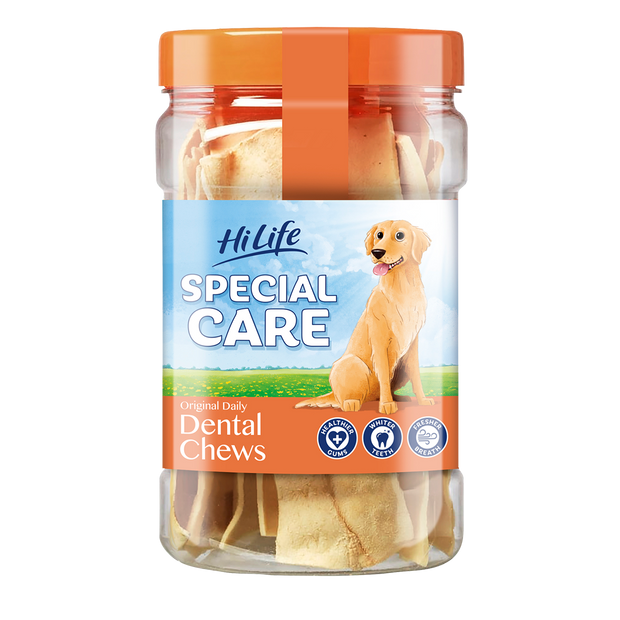 A tub of HiLife Special Care Daily Dental Chews for healthy gums, whiter teeth and fresh breath.  Contains 12 rawhide chews - great for dental health