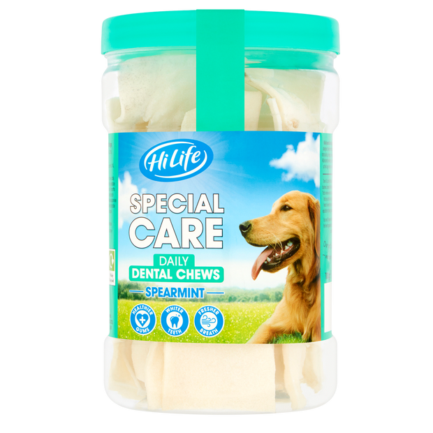 A tub of HiLife Special Care Daily Dental Chews Spearmint for healthy gums, whiter teeth and fresh breath.  Contains 12 rawhide chews - great for dental health