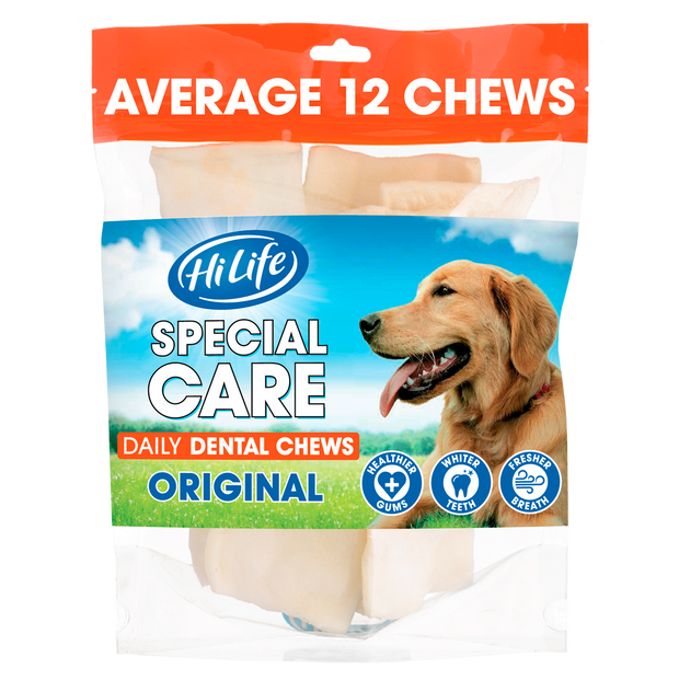 A bag of HiLife Special Care Daily Dental Chew containing an average of 12 high quality rawhide chews - great for dental health
