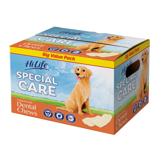 A bulk 1kg box of HiLife Special Care Daily Dental Chews for healthy gums, whiter teeth and fresh breath.  Contains approx 60 rawhide chews - great for dental health