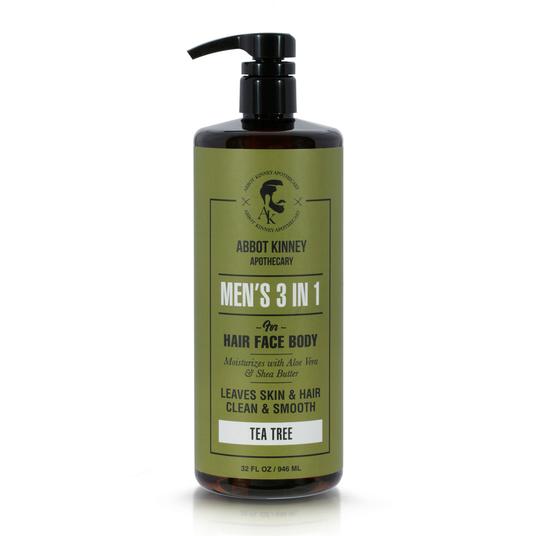 Abbot Kinney Apothecary Men's 3-in-1 Shampoo, Conditioner, and Body Wash, 32oz / 946ml