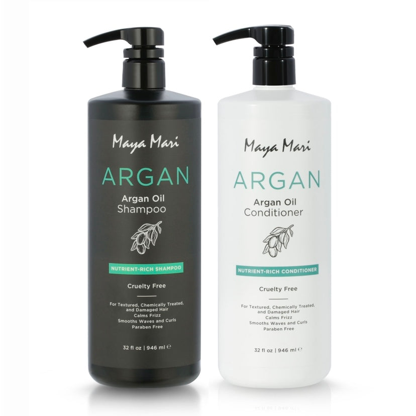 Maya Mari Argan Oil Shampoo & Conditioner – Rich in Nutrients, Restores Moisture & Shine, 32 oz
