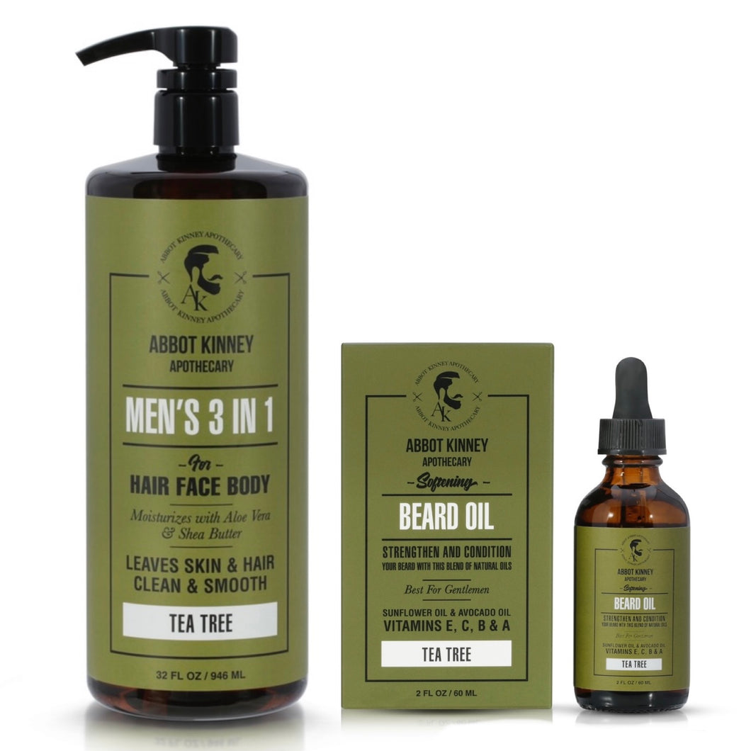Abbot Kinney Apothecary Men's 3-in-1 Moisturizing Shampoo, Conditioner, Body Wash and Softening Beard Oil Set - Tea Tree
