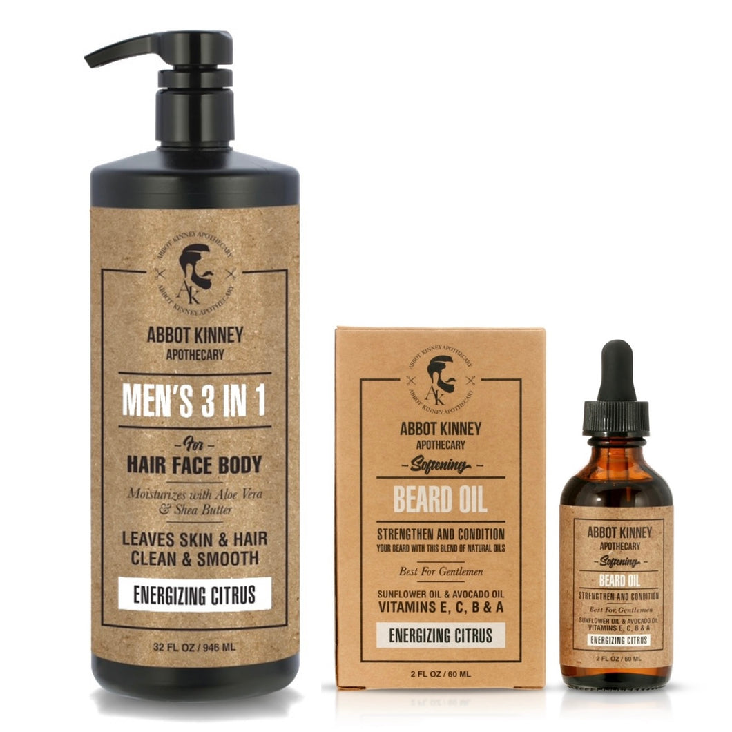 Abbot Kinney Apothecary Men's 3-in-1 Moisturizing Shampoo, Conditioner, Body Wash and Softening Beard Oil Set - Energizing Citrus