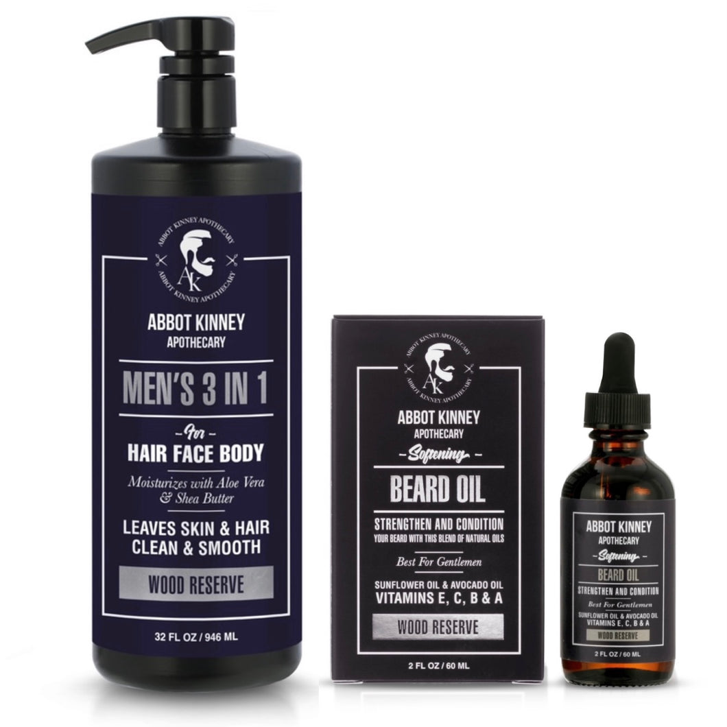 Abbot Kinney Apothecary Men's 3-in-1 Moisturizing Shampoo, Conditioner, Body Wash and Softening Beard Oil Set - Wood Reserve