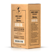 Load image into Gallery viewer, Abbot Kinney Apothecary Men's 3-in-1 Moisturizing Shampoo, Conditioner, Body Wash and Softening Beard Oil Set - Energizing Citrus