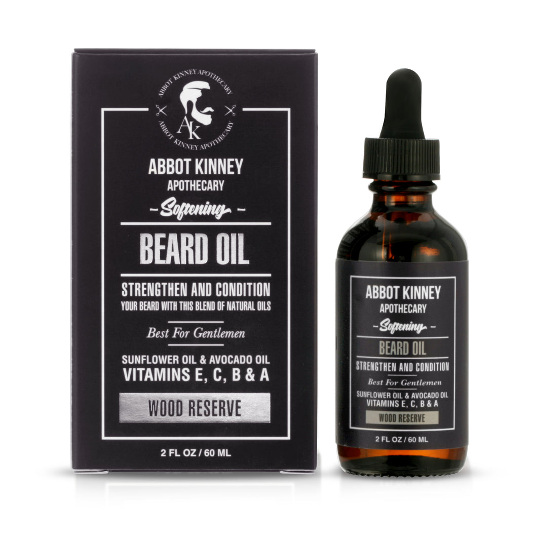Abbot Kinney Apothecary Softening Beard and Mustache Oil, Wood Reserve, 2oz