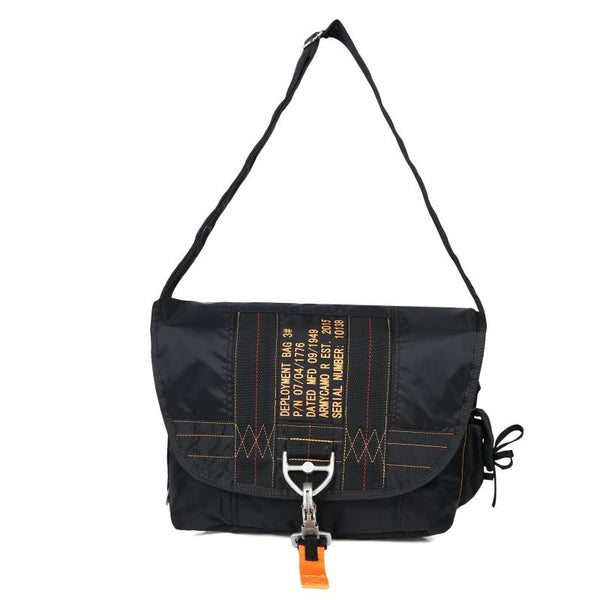 Parachute Style Messenger Shoulder Bag Black