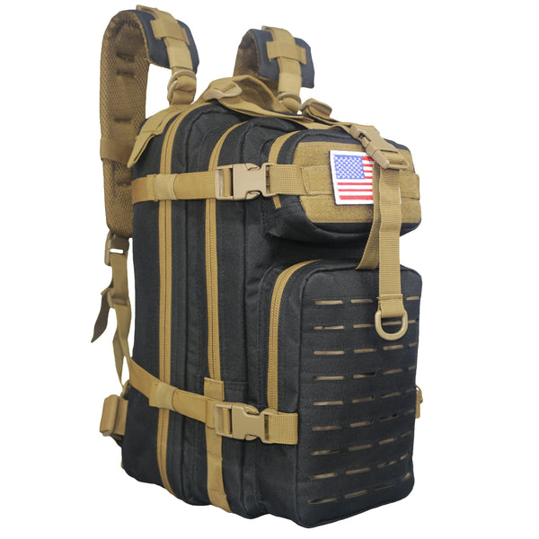 Compact Tactical Laser Cut Backpack Black with Tan