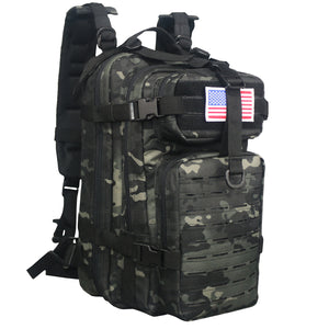 Laser-cut Tactical Backpack Black Multicam - Expands