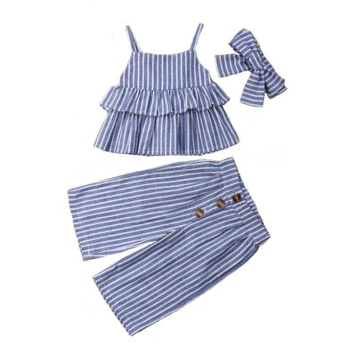 Evelyn Baby Girl Striped Outfit Set
