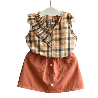 Layla Spring Sleeveless Shirt With Solid Shorts