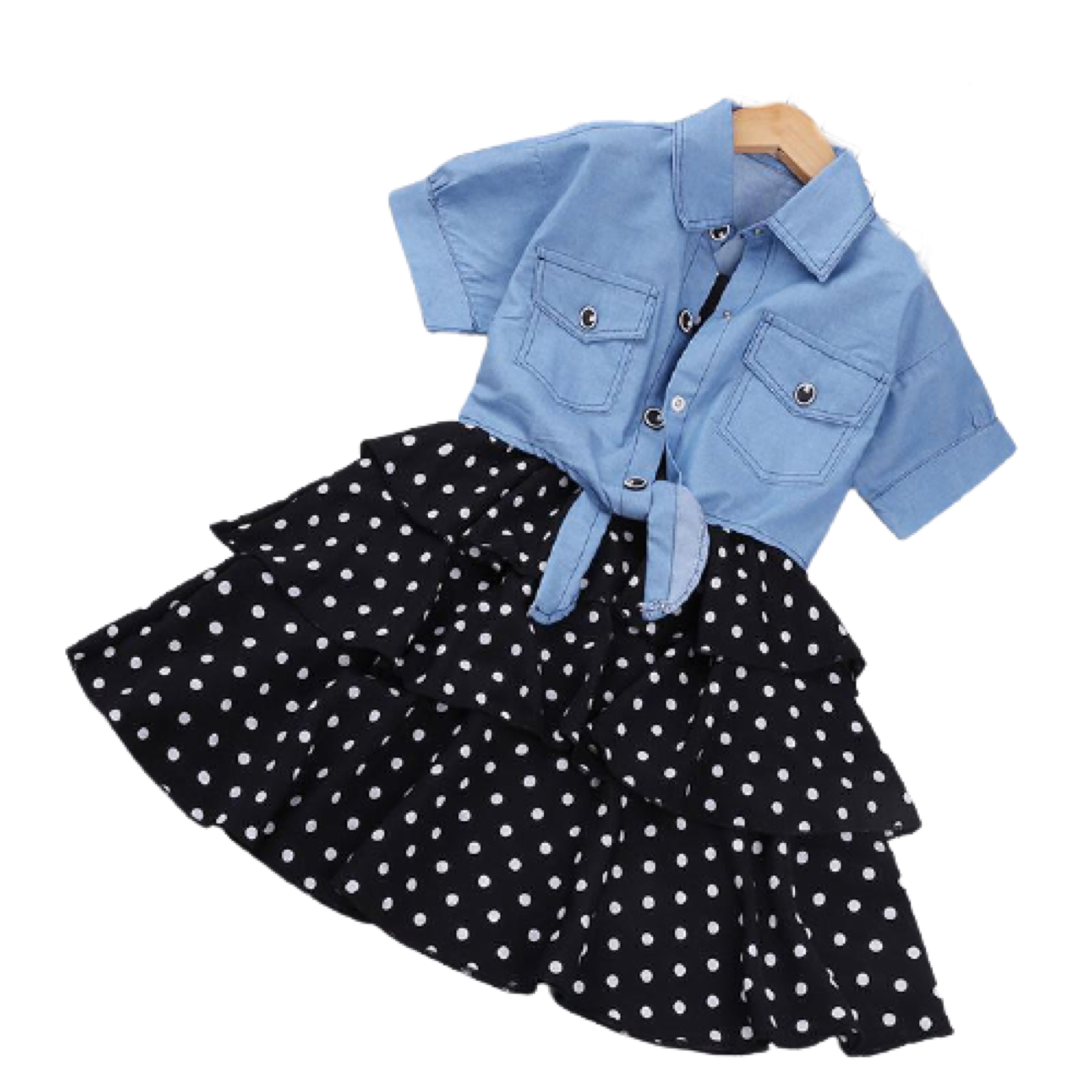 Whitney Short-Sleeved Denim Jacket & Polka Dot Skirt