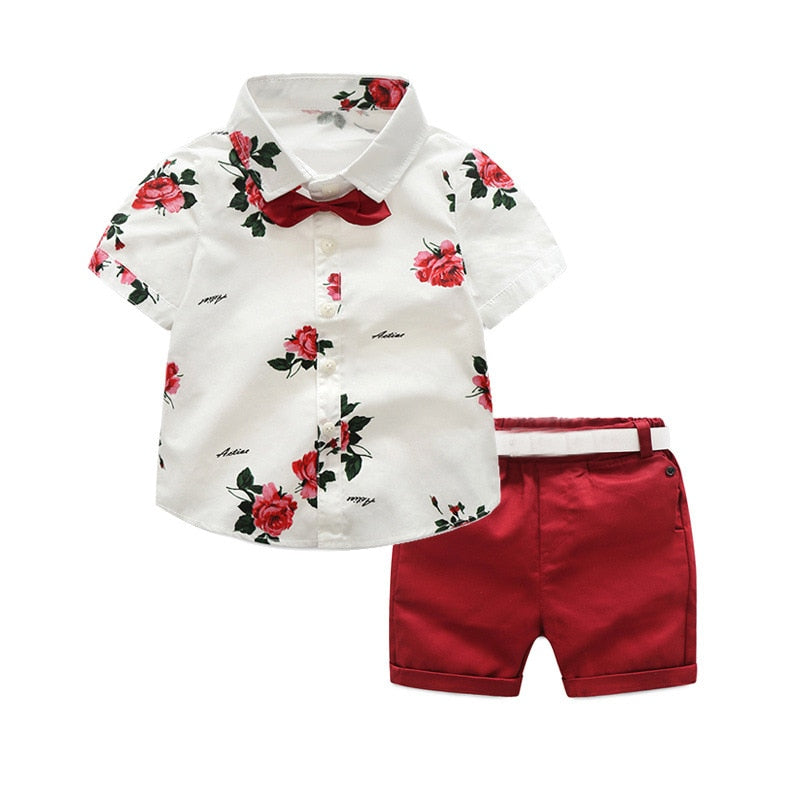 Caleb Summer Style Floral Baby Boy Clothing Set
