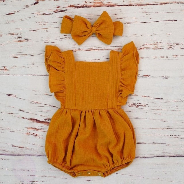 Samantha Organic Cotton Baby Girl Ruffle Romper Jumpsuit With Headband