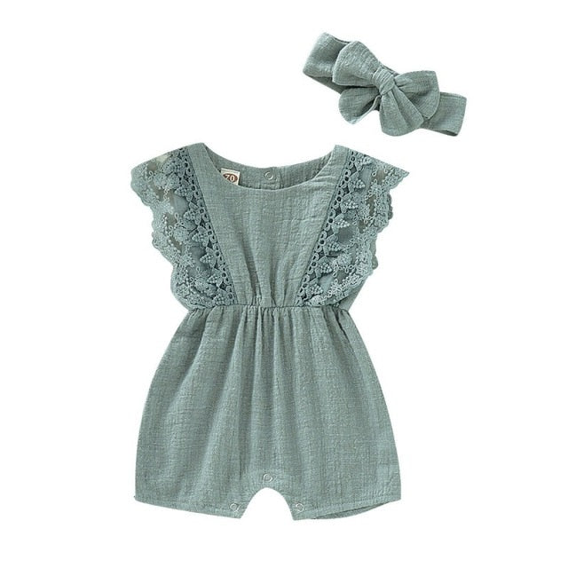 Ivanna Baby Girl Flare Sleeve Lace Rompers with Headband