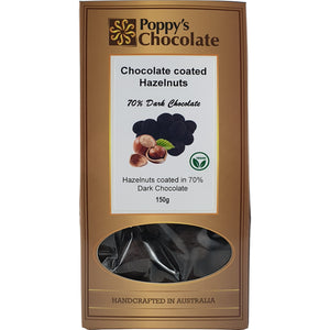 70% Dark Chocolate Coated Hazelnuts 150g - Vegan